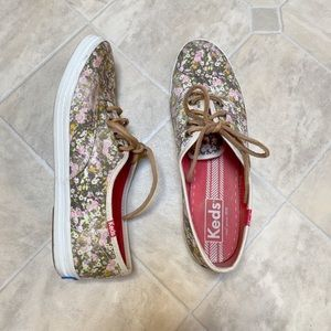 Keds Women's Champion Floral Laced Sneakers EUC